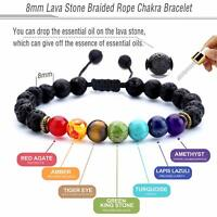 7 Chakra Bracelet Healing Balance Beaded Lava Natural Stone Yoga Reiki Prayer