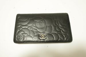 Authentic CHANEL Camellia Leather Black Long Wallet  #9112
