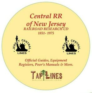 CENTRAL RR of NEW JERSEY OFFICIAL GUIDES,  EQUIPMENT REGISTERS & RESEARCH ON CD