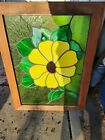 Vintage Stained Glass Window Panel 25 1 2   x 36 yellow flower