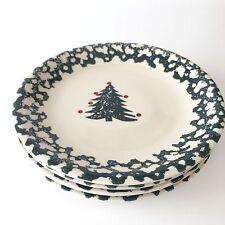 Folk Craft Winter Wonderland Tienshan Pine Christmas Tree Salad Plate Set of 4