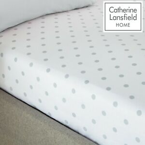 Catherine Lansfield Polka Dotty Spot Fitted Sheet White With Silver Spots