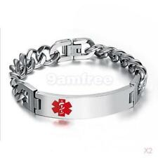 2x Stainless Steel Chain Medical Alert ID Bracelet Bangle One Layer Hand Link
