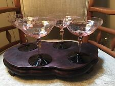 Rare Utility Glass Works Maryland Pink Depression Bi-Color Champagne Coupe Set