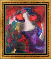 Linda Le Kinff Original Painting Oil On Board Female Portrait Signed Framed Art