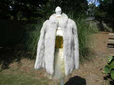 Stunning Saga Blue Fox Fur Coat Jacket Plush Thick Collar - Extra Small
