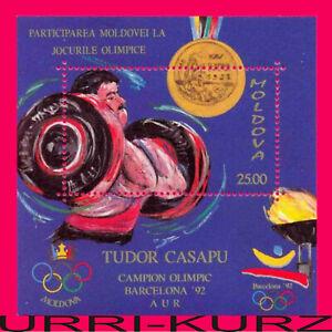 MOLDOVA 1992 Sport Barcelona Spain Olympics Medalist Weight Lifting s-s Sc60 MNH