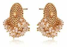 Indian Bridal Earrings Gold Plated Jewelry Antique Bunch Of Pearl Stud Earrings