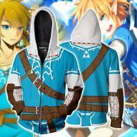 Game The Legend of Zelda Cosplay Hoodies 3D Zip Up Sweatshirt Jacket Spring coat