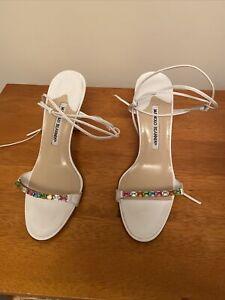 Manolo Blahnik White Jeweled Sandals Size 38 / UK5