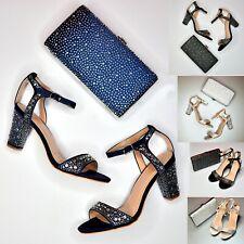 Ladies Rhinestone Block Heel sandals+ Matching Bag Party Evening Prom Bridesmaid