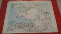 Antique north pole map, French edition of the 19th century.