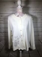 Oscar De La Renta Pink Label Off White Cardigan Long Sleeve Polyester Medium U1