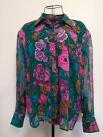 "Stunning vintage Blouse By Diane Freis , 44"" bust. 100% silk. Floral print."