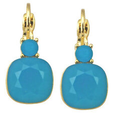 Kirks Folly Fairy Lite Earrings-Leverbacks/Pierced Ears-Goldtone-Caribbean Blue