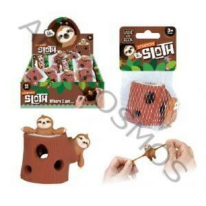 STRETCHY SLOTH AND STUMP FIDGET TOY GIFT -35181 MONKEY SQUISHY STRESS FUNNY CUTE