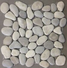 "Harmony Pebble Warm Blend Natural Round Tile 12""x12"" RiverRock Stone Floor Wall"