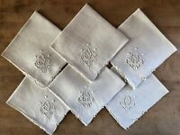 Vintage Natural Linen Square Napkins with Cutwork Embroidery Set of 6