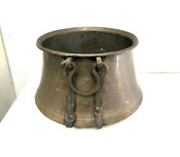 """Large Vintage Hammered Copper Kettle Cauldron with Iron Handles - 16"""" Opening"""
