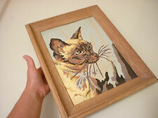Antique Vintage Painting Siamese Cat Hand Painted Framed - Signed Meeder 1957