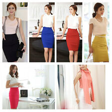 Women Fitted Business Knee Long Slimming High Waist Office Pencil Skirt