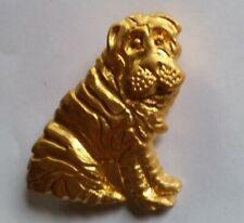 Cute Shar-Pei Dog Gold Tone Brooch Pin