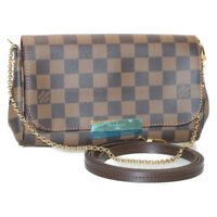 LOUIS VUITTON Damier Ebene Favorite PM Chain Shoulder Bag N41276 LV Auth sa3017