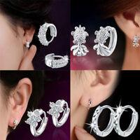 Women 925 Silver Plated Ear Stud Crystal Rhinestone Hoop Earring Fashion Jewelry
