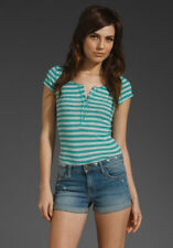 FREE PEOPLE M Ribbed Tee T Shirt Sailor Stripe Teal Henley Buttons Crochet NWT