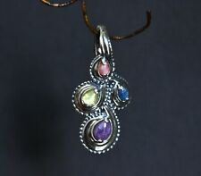 Windsong Carolyn Pollack 925 sterling PURPLE pink blue yellow gemstone PENDANT