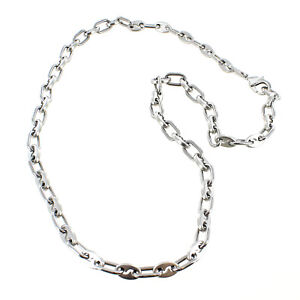 Rochet Roma Offset Modern Industrial Stainless Steel Chain Necklace 25 inch
