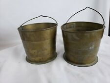 """Set of 2 collapsible brass buckets, ca. 1900, 5"""""""