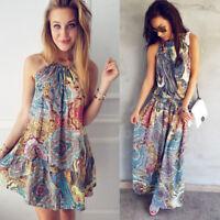 Womens Summer Vintage Boho Mini/Long Evening Party Beach Floral Dress Sundress