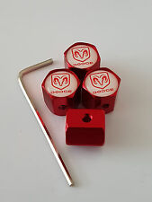 DODGE RED ANTI THEFT DUST VALVE CAPS LIMITED ALL MODELS RETAIL PACK NITRO COLT
