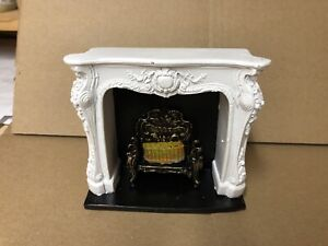 White Rocco Style Fireplace, FAULTY Dolls House Miniature 1.12 Scale