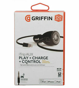 Griffin iTrip Aux Auto Pilot Lightning Car Charger and Control Device 2.4A Black