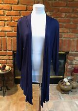 OLIVIA MOON CHIC sz XL Navy Blue Soft Draping Open-Front Layering Cover Jacket