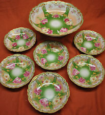 Rare Old Antique Limoges France M D Mavaleix Coronet Hand Painted Serve Bowl Set