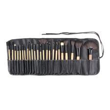 24tlg Pinsel Set Make-up Echthaar Brush kosmetik Tasche  Rosa Beige Holzv&
