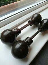 2 pairs Bakelite Walnut Brown Door Knobs / Handles / Original 1930s Art Deco