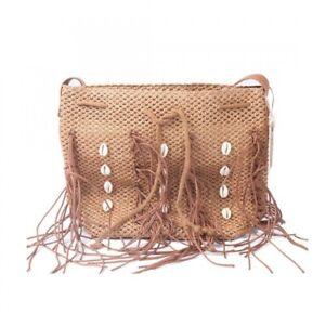 Strohtasche Shopper Damen Schultertasche Handtasche mit Muschel
