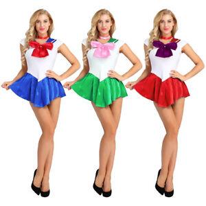 Sexy Women Sailor Moon Costume Mercury Mars Fancy Dress Halloween Cosplay Outfit