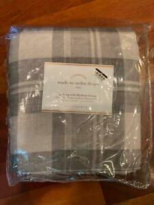 Pottery Barn ONE Turner Plaid Drape with Blackout Lining Gray 50 x 108 NEW
