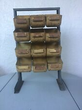 Vintage Bathey Heavy Duty Metal Parts Bin Caddy 12-Bins Industrial Strong