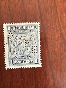 """Newfoundland - Canada 1c Perfin AYRE used stamp """"COD FISH"""" VG Lot 9944"""