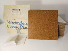 "Vtg Wicanders Cork-O-Plast Floor Tiles, 51 Sweden Expanko Cork Co 11 7/8"" x 1/8"