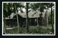 Webb Lake Wisconsin WI c1939 RPPC Leahy Resort Main Lodge Log Cabin Style, Porch