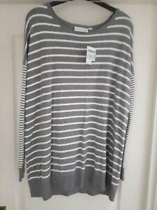 Jojo maman bebe, S,  double stripe jumper. Silver ecru. Maternity Breton Stripe.
