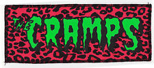 SEW ON GREEN & BLACK CRAMPS PSYCHOBILLY PUNK HORROR GARAGE PINK LEOPARD PATCH