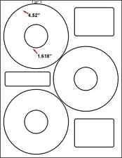 """8,400 4.52"""" OD 3UP CD/DVD NEATO COMPATIBLE   LABELS INKJET LASER COMPATIBLE"""